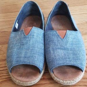 Tom's chambray peep-toe shoes, size 9.